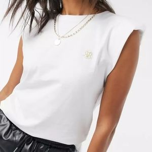NWT River Island White Padded Shoulders Tank Top 8